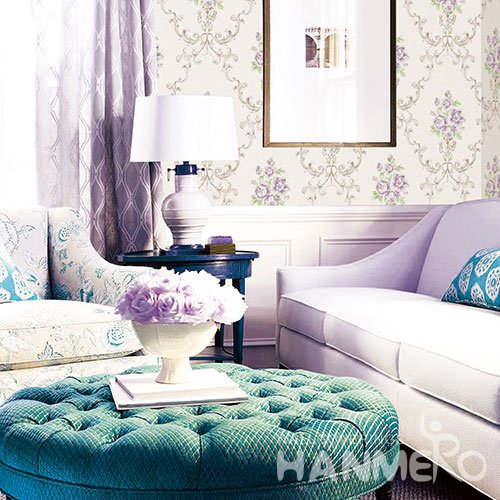 HANMERO Modern Purple And White Embossed Vinyl Wall Paper Murals 0.53*10M/roll Home Decor