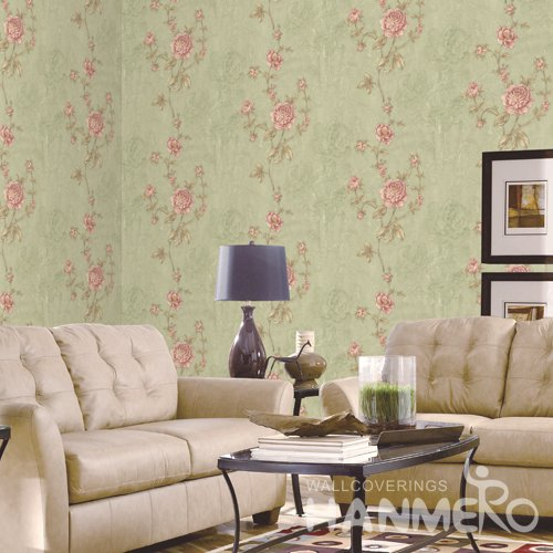 HANMERO Rural Green Embossed Vinyl PVC Wallpaper 1.06*15.6M/Roll Home Decor