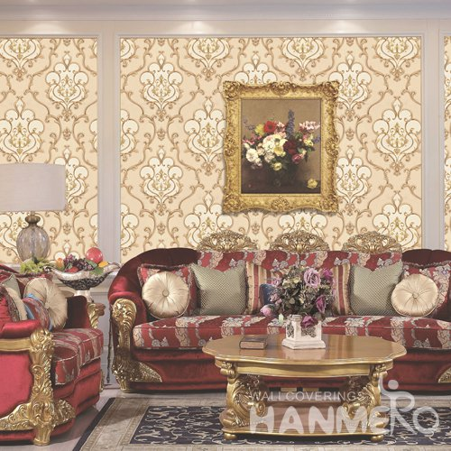 HANMERO Gold European Embossed Vinyl PVC Wallpaper 1.06*15.6M/Roll Home Decor