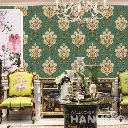 HANMERO European Green Embossed Vinyl PVC Wallpaper 1.06*15.6M/Roll Home Decor