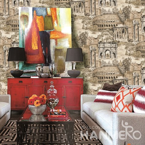 HANMERO Vintage Brown Embossed Vinyl PVC Wallpaper 1.06*15.6M/Roll Home Decor