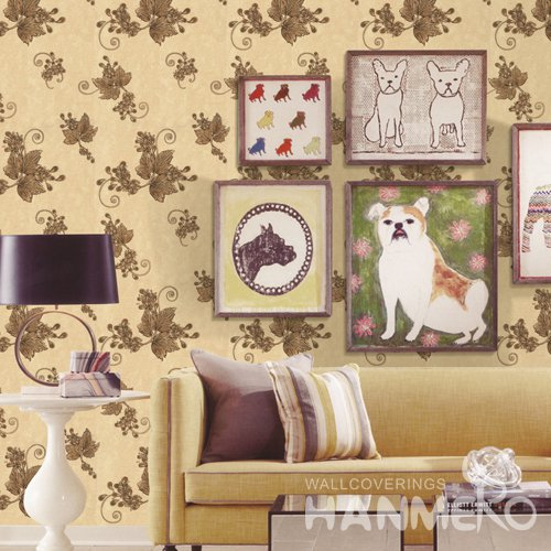 HANMERO Rural Gold Embossed Vinyl PVC Wallpaper 1.06*15.6M/Roll Home Decor