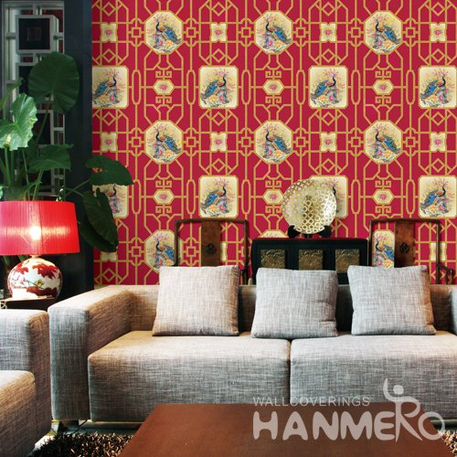 HANMERO Chinese Red Embossed Vinyl Wall Paper Murals 0.53*10M/roll Home Decor