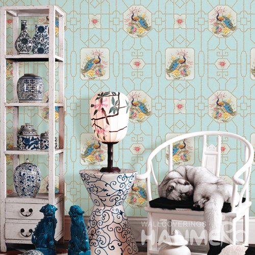 HANMERO Chinese Blue Embossed Vinyl Wall Paper Murals 0.53*10M/roll Home Decor