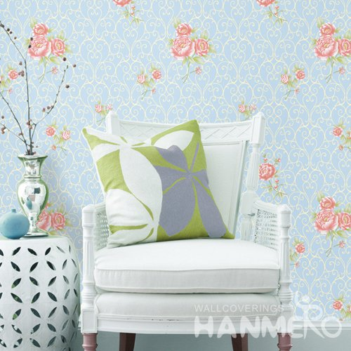 HANMERO Rural Blue Embossed Vinyl Wall Paper Murals 0.53*10M/roll Home Decor