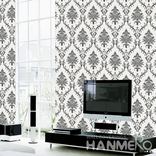 HANMERO Modern White And Gray Embossed Vinyl Wall Paper Murals 0.53*10M/roll Home Decor