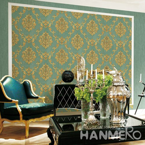 HANMERO Eurppean Green Embossed Vinyl Wall Paper Murals 0.53*10M/roll Home Decor