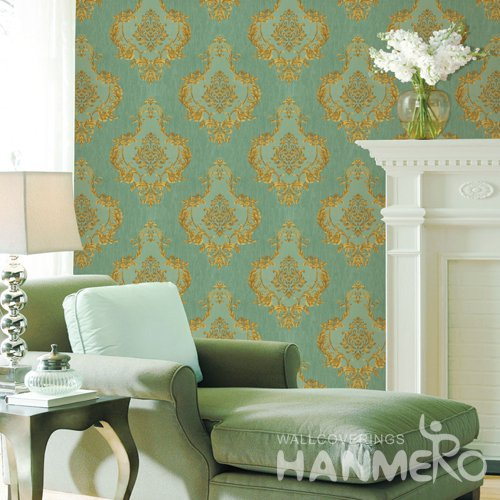 HANMERO European Green Embossed Vinyl Wall Paper Murals 0.53*10M/roll Home Decor