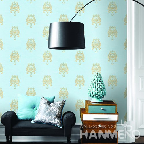 HANMERO European Blue Embossed Vinyl Wall Paper Murals 0.53*10M/roll Home Decor