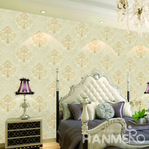 HANMERO European Yellow Embossed Vinyl Wall Paper Murals 0.53*10M/roll Home Decor
