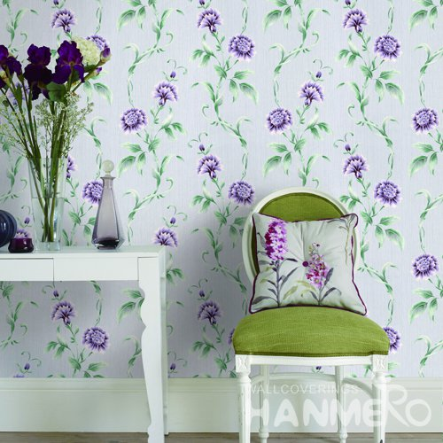 HANMERO Rural Purple Embossed Vinyl Wall Paper Murals 0.53*10M/roll Home Decor
