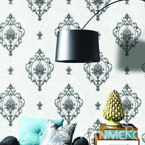 HANMERO European Black Embossed Vinyl Wall Paper Murals 0.53*10M/roll Home Decor