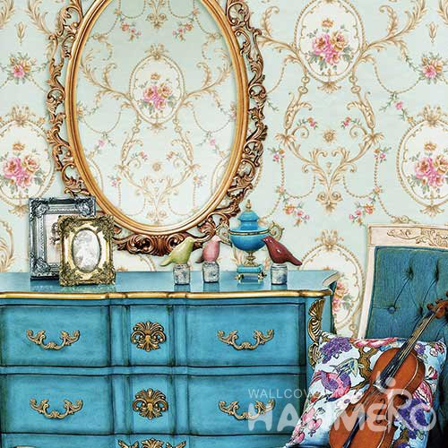 HANMERO Modern Cambridge Blue Embossed Vinyl Wall Paper Murals 0.53*10M/roll Home Decor