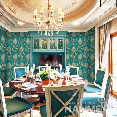 HANMERO Modern Cyan Embossed Vinyl Wall Paper Murals 0.53*10M/roll Home Decor