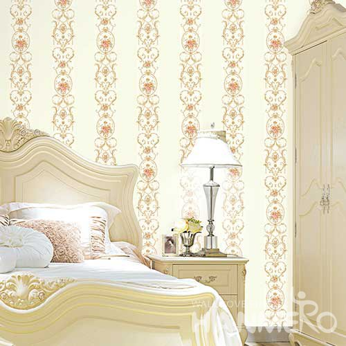 HANMERO Modern Pale Yellow Embossed Vinyl Wall Paper Murals 0.53*10M/roll Home Decor