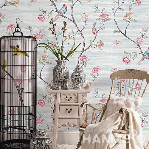 HANMERO Modern Baby Blue Embossed Vinyl Wall Paper Murals 0.53*10M/roll Home Decor