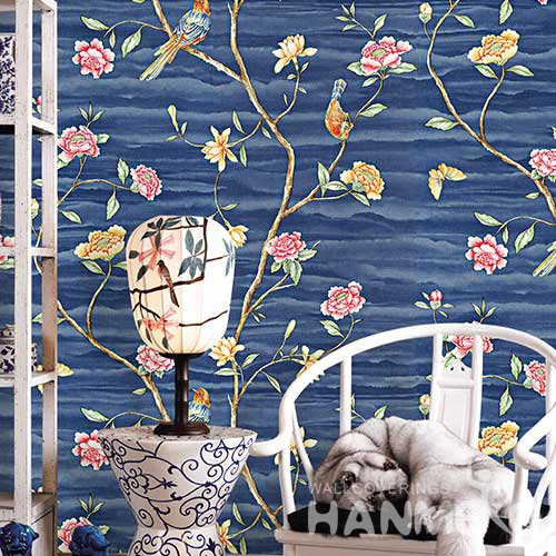 HANMERO Modern Dark Blue Embossed Vinyl Wall Paper Murals 0.53*10M/roll Home Decor