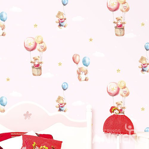 HANMERO Cartoon Pink Embossed Vinyl Wall Paper Murals 0.53*10M/roll Home Decor
