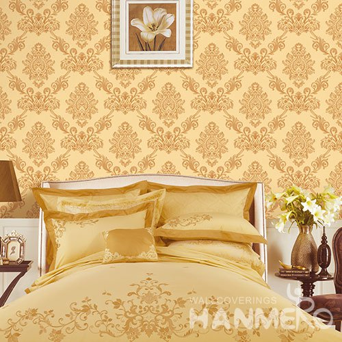 HANMERO Modern Yellow Embossed Vinyl Wall Paper Murals 0.53*10M/roll Home Decor