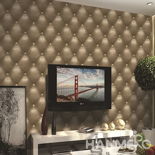 HANMERO 3D Sofa Brown Embossed Vinyl Wall Paper Murals 0.53*10M/Roll Home Decor