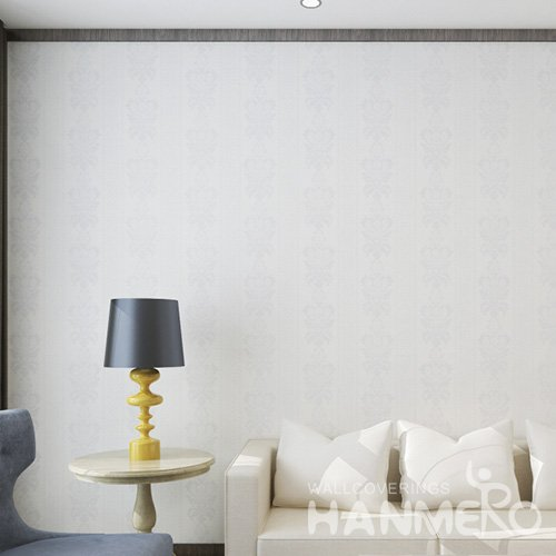 HANMERO European White Embossed Vinyl Wall Paper Murals 0.53*10M/Roll Home Decor
