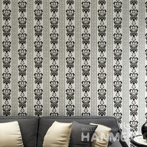 HANMERO European White And Black Embossed Vinyl Wall Paper Murals 0.53*10M/Roll Home Decor