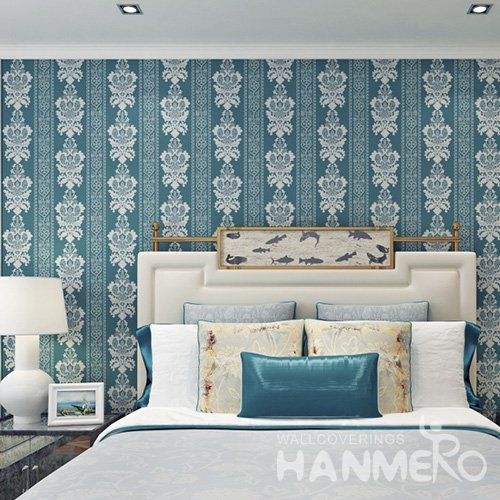 HANMERO European Dark Green Embossed Vinyl Wall Paper Murals 0.53*10M/Roll Home Decor