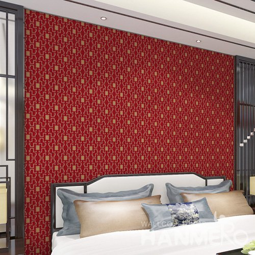 HANMERO Modern Red Embossed Vinyl Wall Paper Murals 0.53*10M/Roll Home Decor