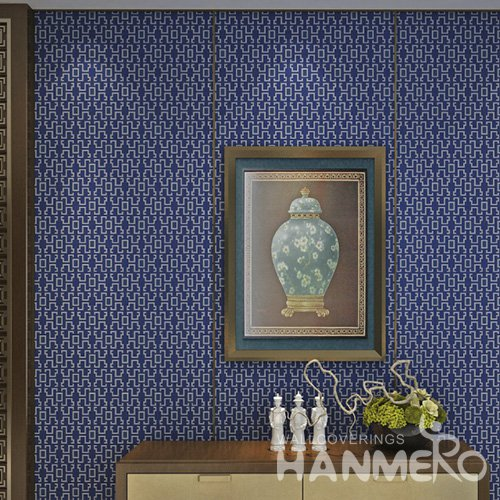 HANMERO Modern Blue Embossed Vinyl Wall Paper Murals 0.53*10M/Roll Home Decor