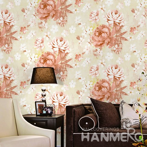 HANMERO China Orange Floral Printed Vinyl Wallpaper 0.53*10M/Roll For Room Decoration
