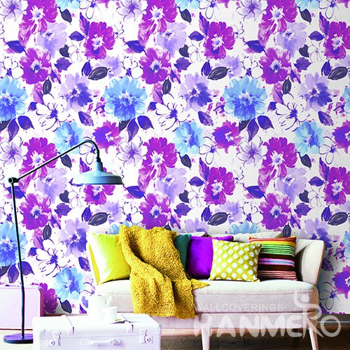 Hanmero Country Floral Printed Vinyl Wallpaper 0.53*10M/Roll For Room Decoration