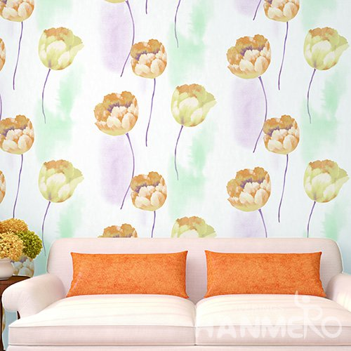 Hanmero Pastoral Orange Floral Printed Vinyl Wallpaper 0.53*10M/Roll For Room Decoration