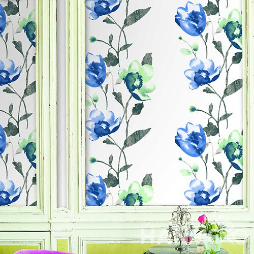 Hanmero Pastoral Blue Floral Printed Vinyl Wallpaper 0.53*10M/Roll For Room Decoration