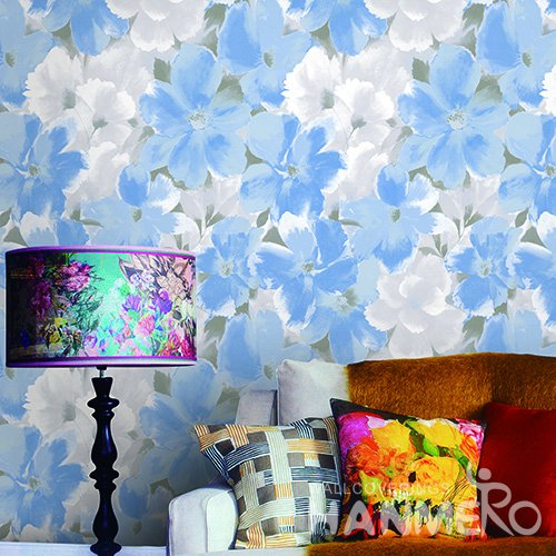 Hanmero Rustic Blue Printed Vinyl Wallpaper 0.53*10M/Roll For Room Decoration
