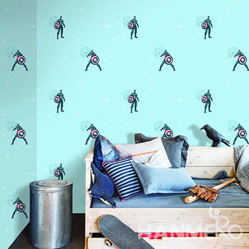 HANMERO Kids Cartoon Blue And Red Printed Non woven Wallpaper For Baby Interior Room