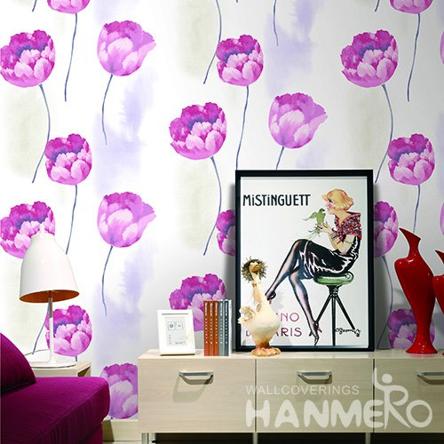Hanmero Pastoral Purple Floral Printed Vinyl Wallpaper 0.53*10M/Roll For Room Decoration