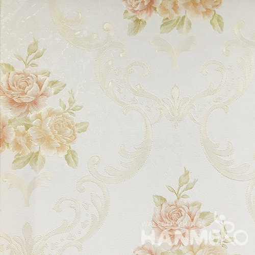 Hanmero Home Decoration Light Yellow Flower Pastrol Vinyl Embossed Wallpaper 0.53*10M/Roll
