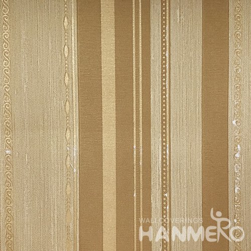 Hanmero Home Decoration Brown Stripes Modern Vinyl Embossed Wallpaper 0.53*10M/Roll