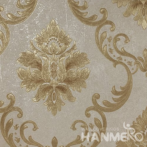 Hanmero Home Decoration Brown Flowers European Vinyl Embossed Wallpaper 0.53*10M/Roll