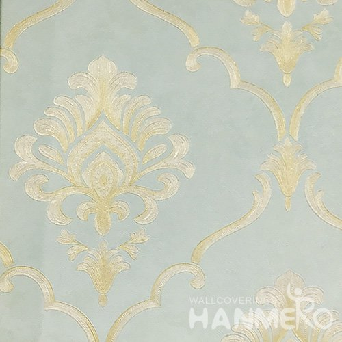Hanmero Home Decoration Green Floral European Vinyl Embossed Wallpaper 0.53*10M/Roll