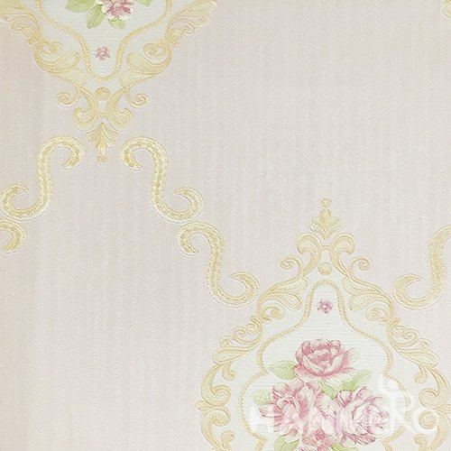 Hanmero Home Decoration Pale Pink Floral European Vinyl Embossed Wallpaper 0.53*10M/Roll