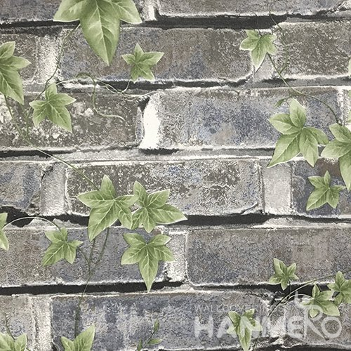 Hanmero Home Decoration Dark Grey Brick Pastoral Vinyl Embossed Wallpaper 0.53*10M/Roll