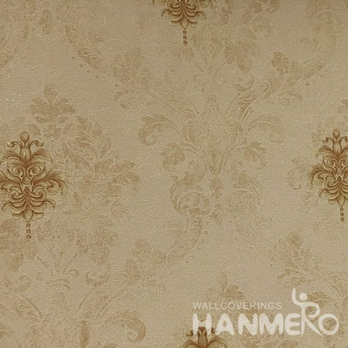 Hanmero Home Decoration Brown Floral European Vinyl Embossed Wallpaper 0.53*10M/Roll