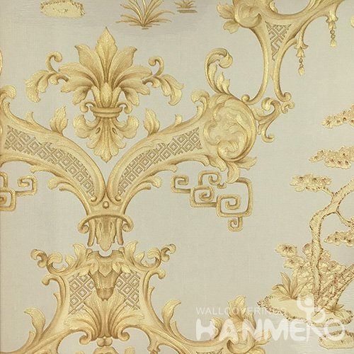 Hanmero Home Decoration Gold Floral Classic Vinyl Embossed Wallpaper 0.53*10M/Roll