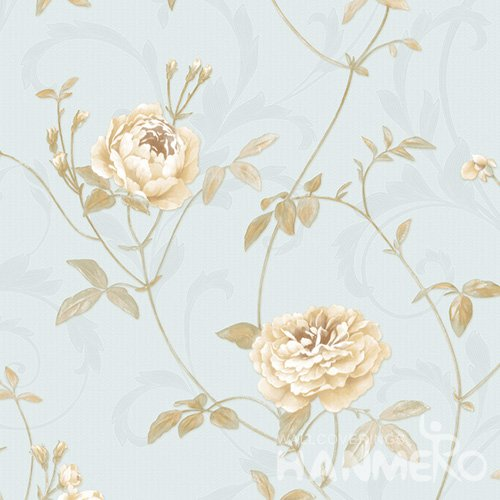 HANMERO Embossed Pastoral Floral Blue PVC Wallpaper For Home Interior Decoration