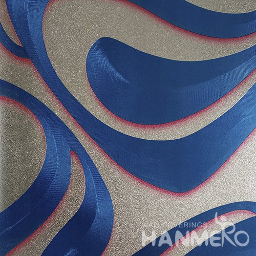 HANMERO PVC Modern Geometric Curve Blue Metallic Wallpaper For Interior Wall Decor