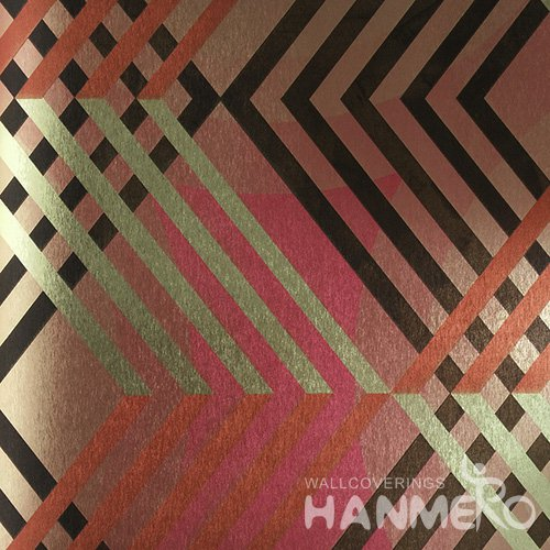 HANMERO PVC Modern Geometric Multi Color Metallic Wallpaper For Interior Wall Decor