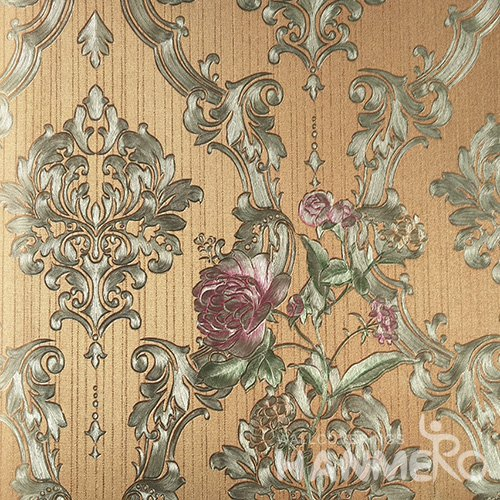 HANMERO PVC European Flowers Yellow Metallic Wallpaper For Interior Wall Decor