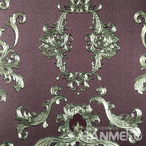 HANMERO PVC European Floral Dark Purple Metallic Wallpaper For Interior Wall Decor