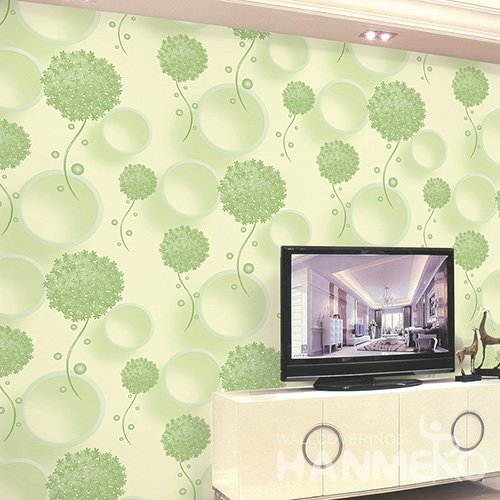 HANMERO Wall Decoration Modern PVC Foam Floral Green Room Interior Wallpaper